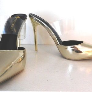 Shoes - Gold Sandals with Clear Strap
